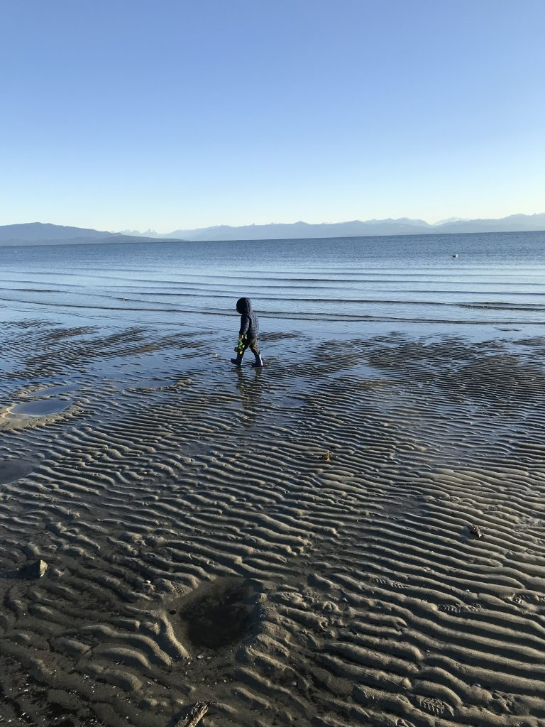 A child walks on the beach at Parksville's Rathtrevor Beach Provincial Park, you can walk out nearly a kilometre into the Strait of Georgia at low tide.